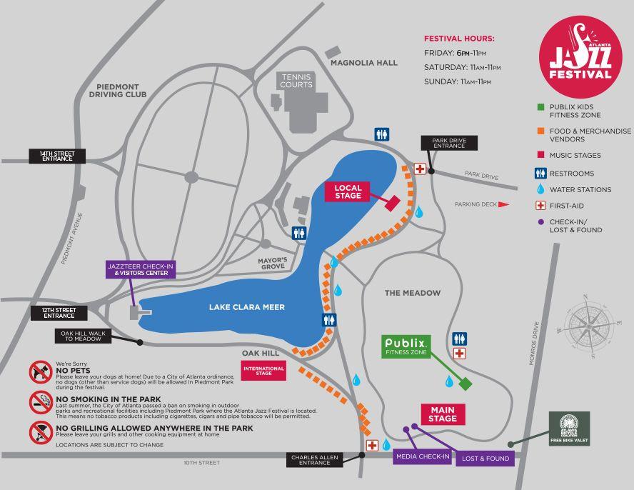 Atlanta Jazz Festival Map Piedmont Park Atlanta Jazz Festival Exercise For Kids