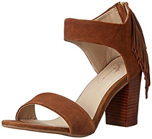 Seychelles Women's Hello Lovely Dress Pump, Whiskey, 8 M US. Chunky dress  sandal featuring wide straps and cascading fringe at heel counter.