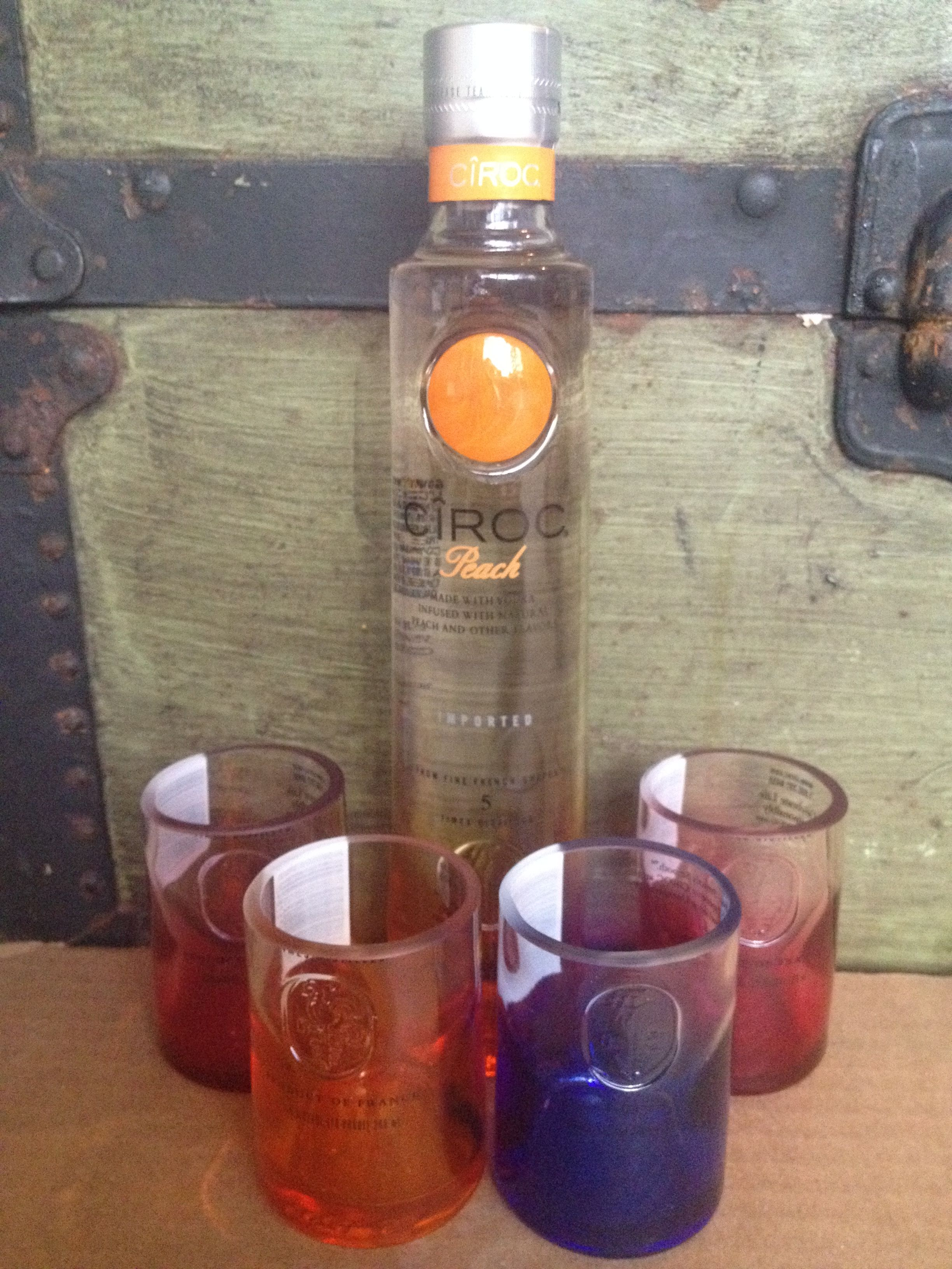 Ciroc shot glasses made from empty bottles in Little Rock AR