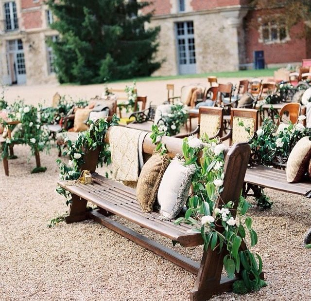 Rustic outdoor ceremony setup wooden chairs and benches for using benches creates a great look brides of adelaide magazine chair decor wedding ceremony church pews outdoor wedding junglespirit Image collections