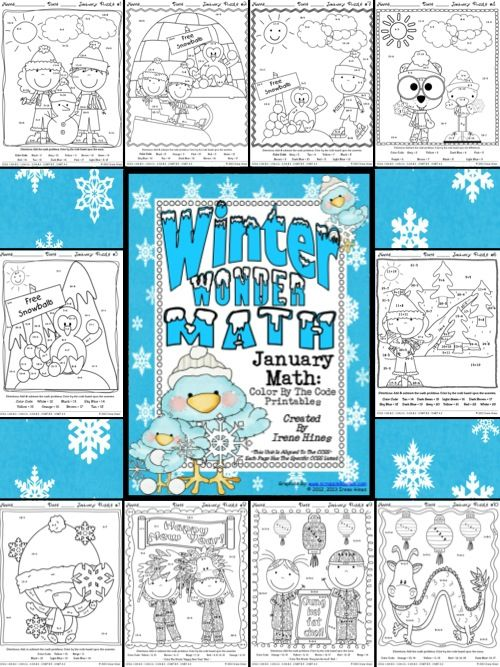 Winter Wonder Math ~ January Math Printables Color By The Code ...