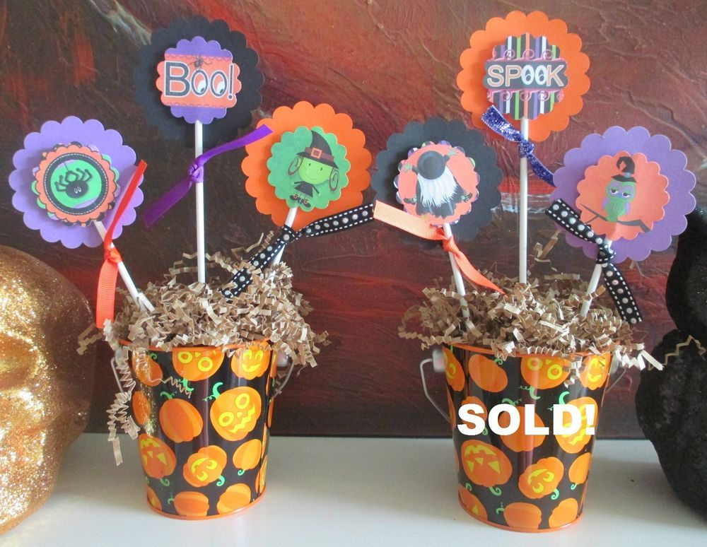 Halloween Centerpiece Decorations Table Decor Topiary Pumpkin Pail - halloween centerpiece