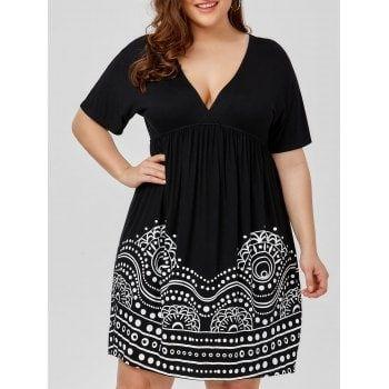 Low Cut Empire Waist Plus Size A Line Dress