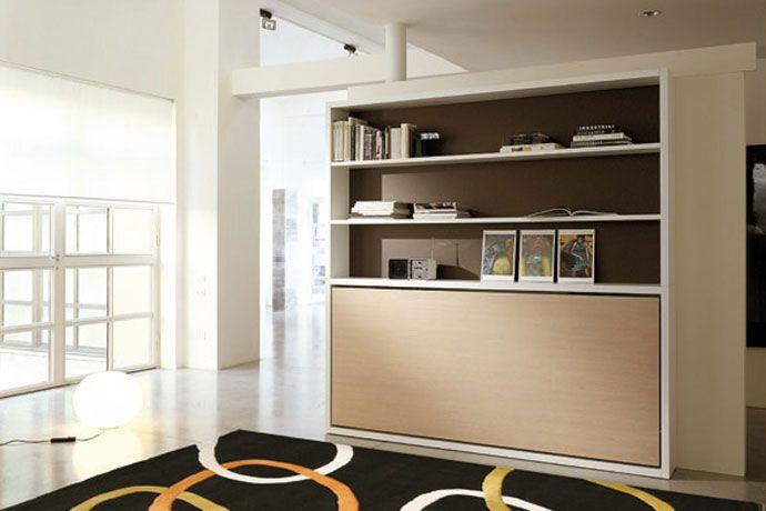 Mueble abatible horizontal con librer a decoraci n for Cama escondida en mueble
