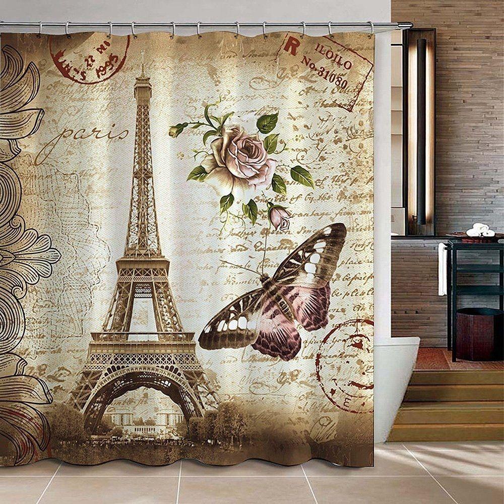 Paris Eiffel Tower Waterproof Kids Bathroom Shower Curtain Beige
