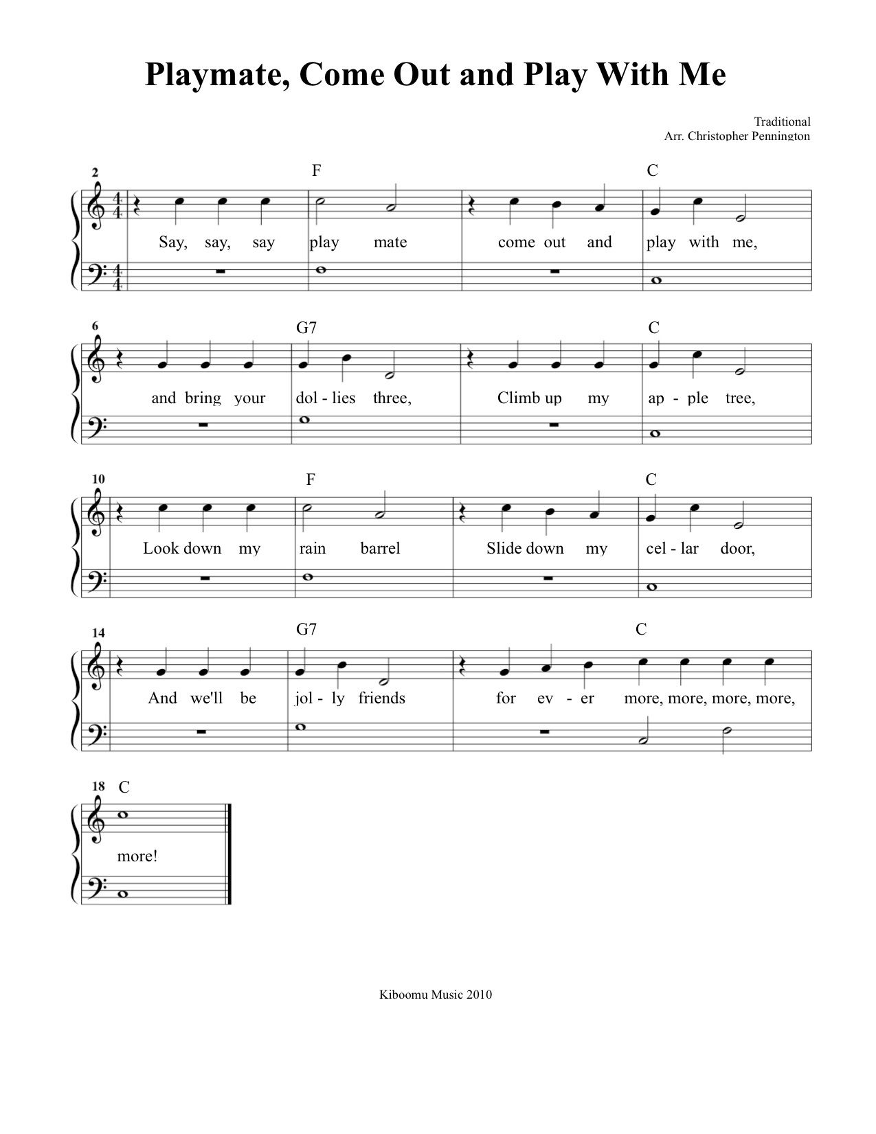 Playmate Come Out And Play With Me Sheet Music