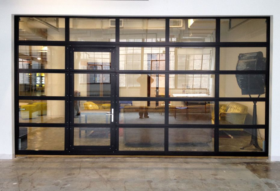 Insulated glass garage door modern frosted with black - Commercial steel exterior doors with glass ...
