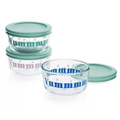 Pyrex 1 Cup 3pk Glass Round Yummmmm Food Storage Container Glass Food Storage Containers Glass Food Storage Food Storage