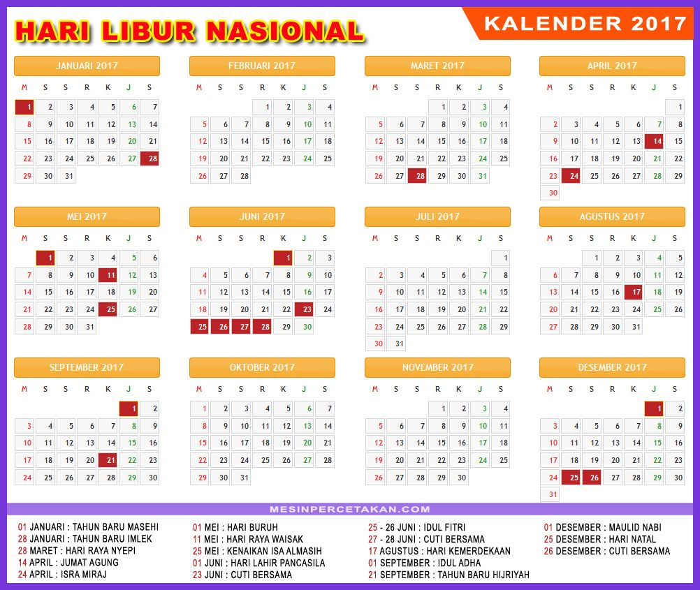 Kalender Indonesia 2017 Lengkap Tanggal Merah Libur Nasional Kalender Tanggal Hari Buruh