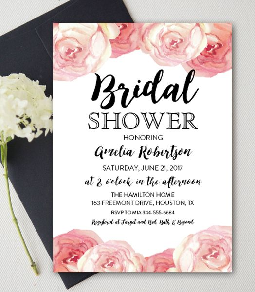 Free Editable Bridal Shower Invitation Watercolor Flowers Pdf