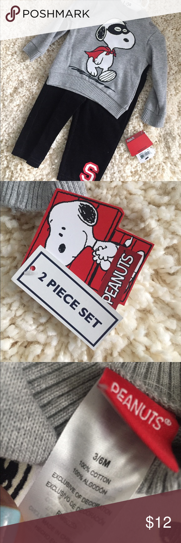 NWT Snoopy 2 Piece Set NWT 3-6 Months. Grey sweater with black corduroy bottoms and snoopy details! Matching Sets