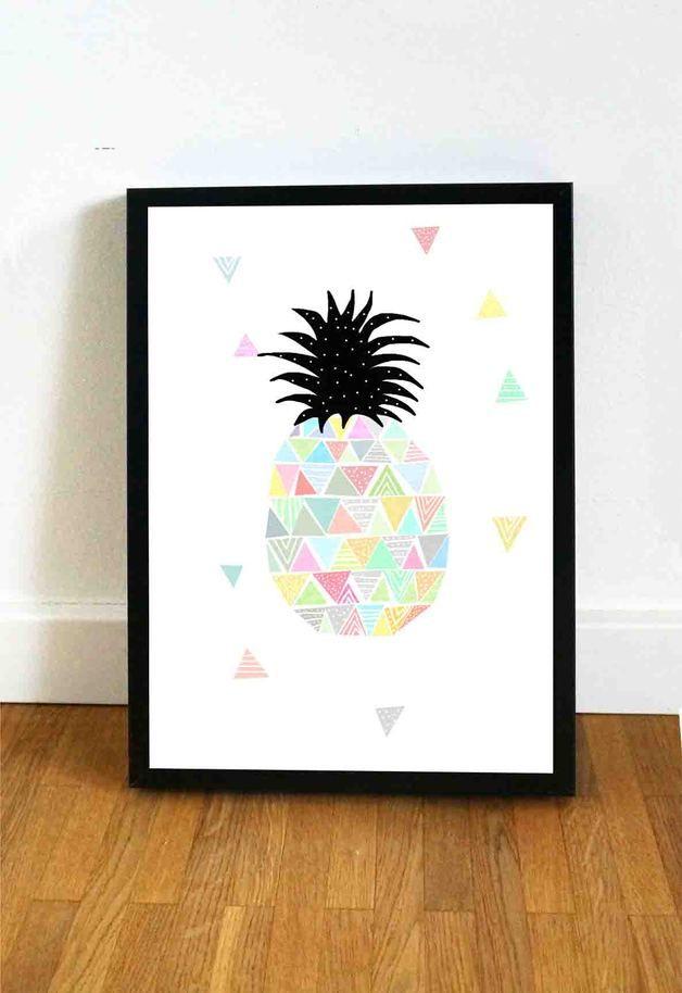 Drucke & Plakate - Ananas - ein Designerstück von Haus-nr-26 bei DaWanda