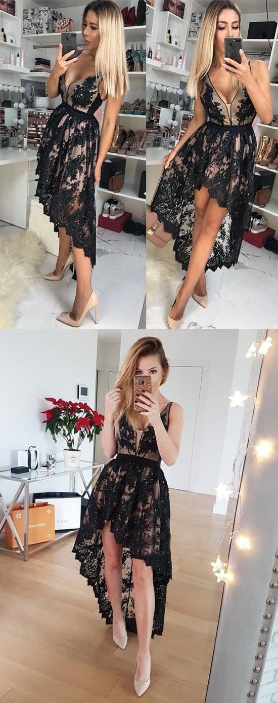 3ae5c65874 A-Line V-Neck Low-Cut High Low Black Lace Homecoming Dress with ...