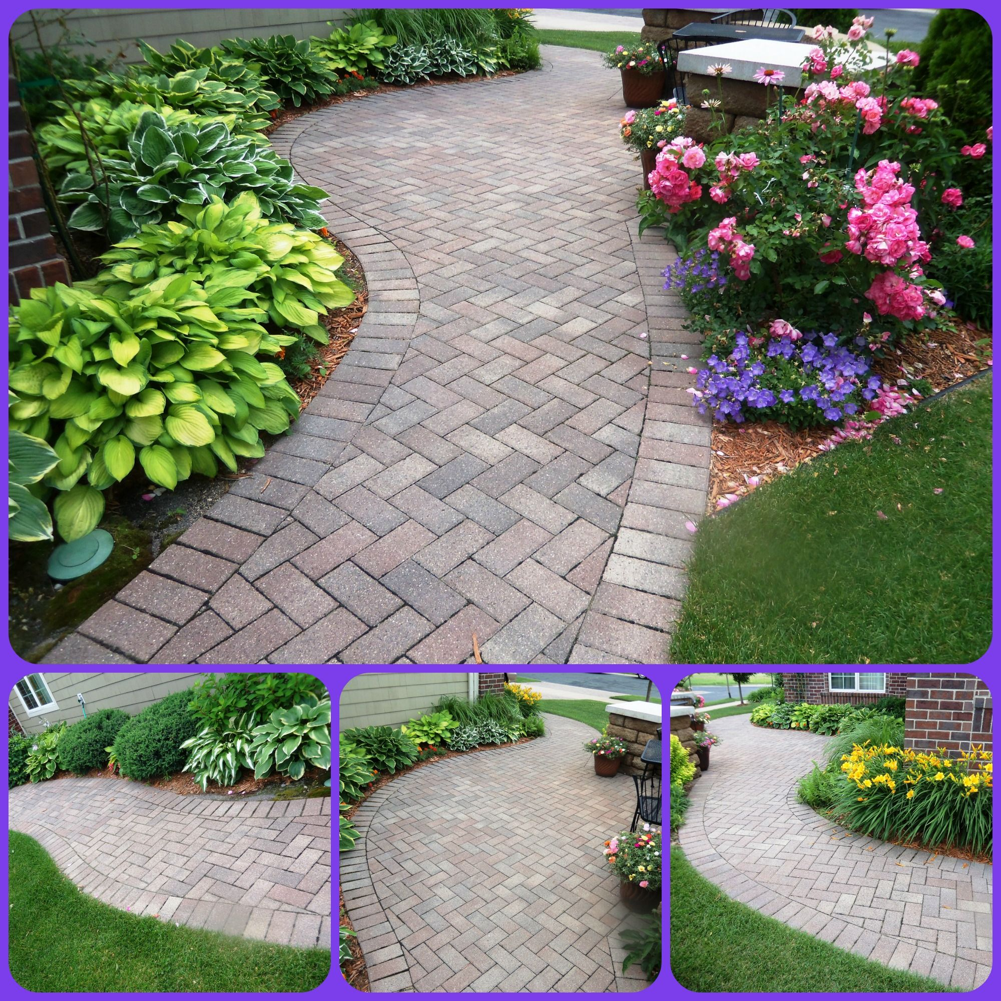 Covered Walkway Designs For Homes: Stunning Paver Walkway Wrapping Around The Side Of Home