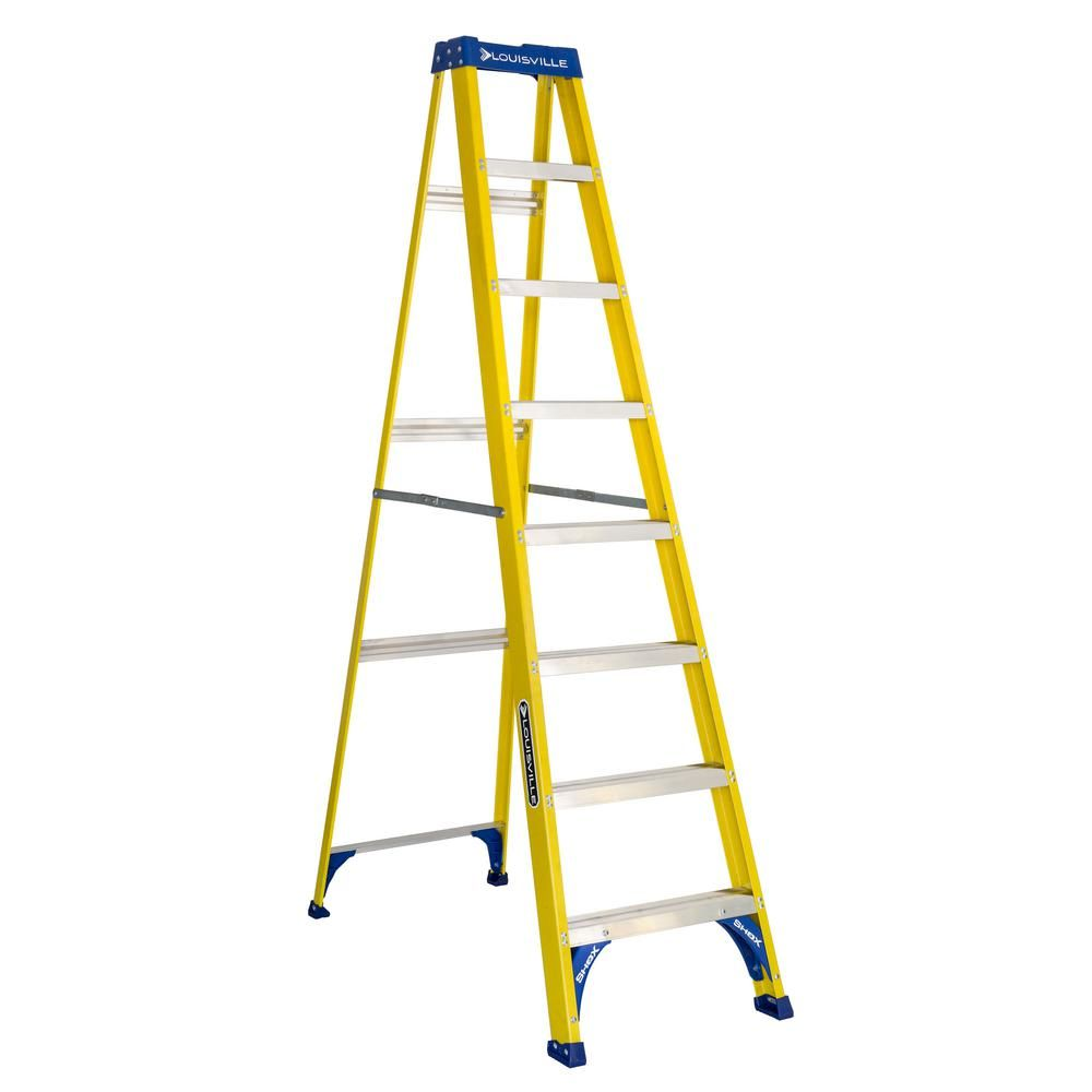 Louisville Ladder 8 Ft Fiberglass Step Ladder With 250 Lbs Load