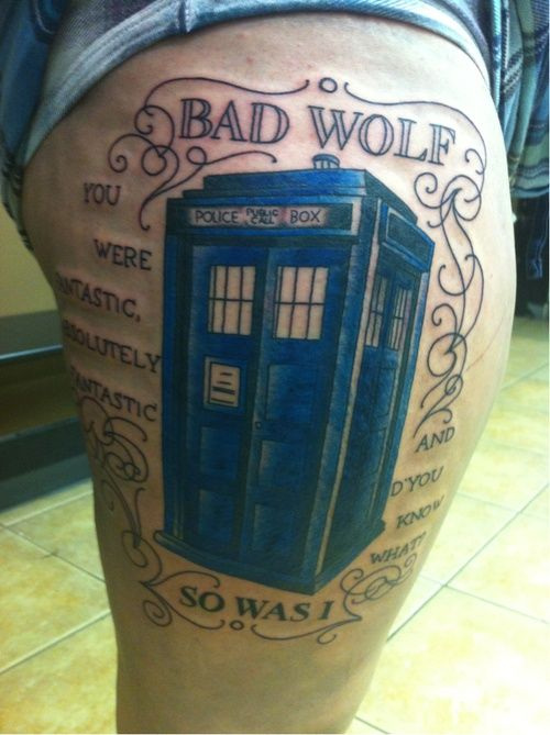 Bad Wolf Tardis Tattoo This Text Around My Clara Tardis With The Never Be Cruel Quote Doctor Who Tattoos Dr Who Tattoo Tattoos