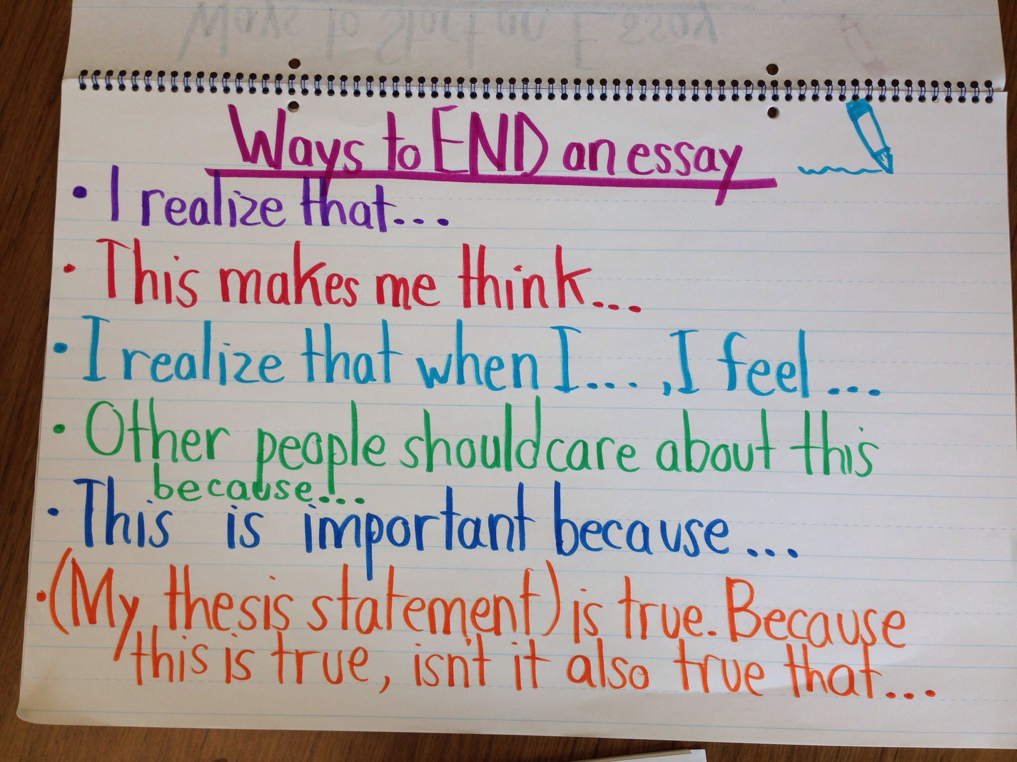 Writer s workshop ways to end an essay anchor chart teaching