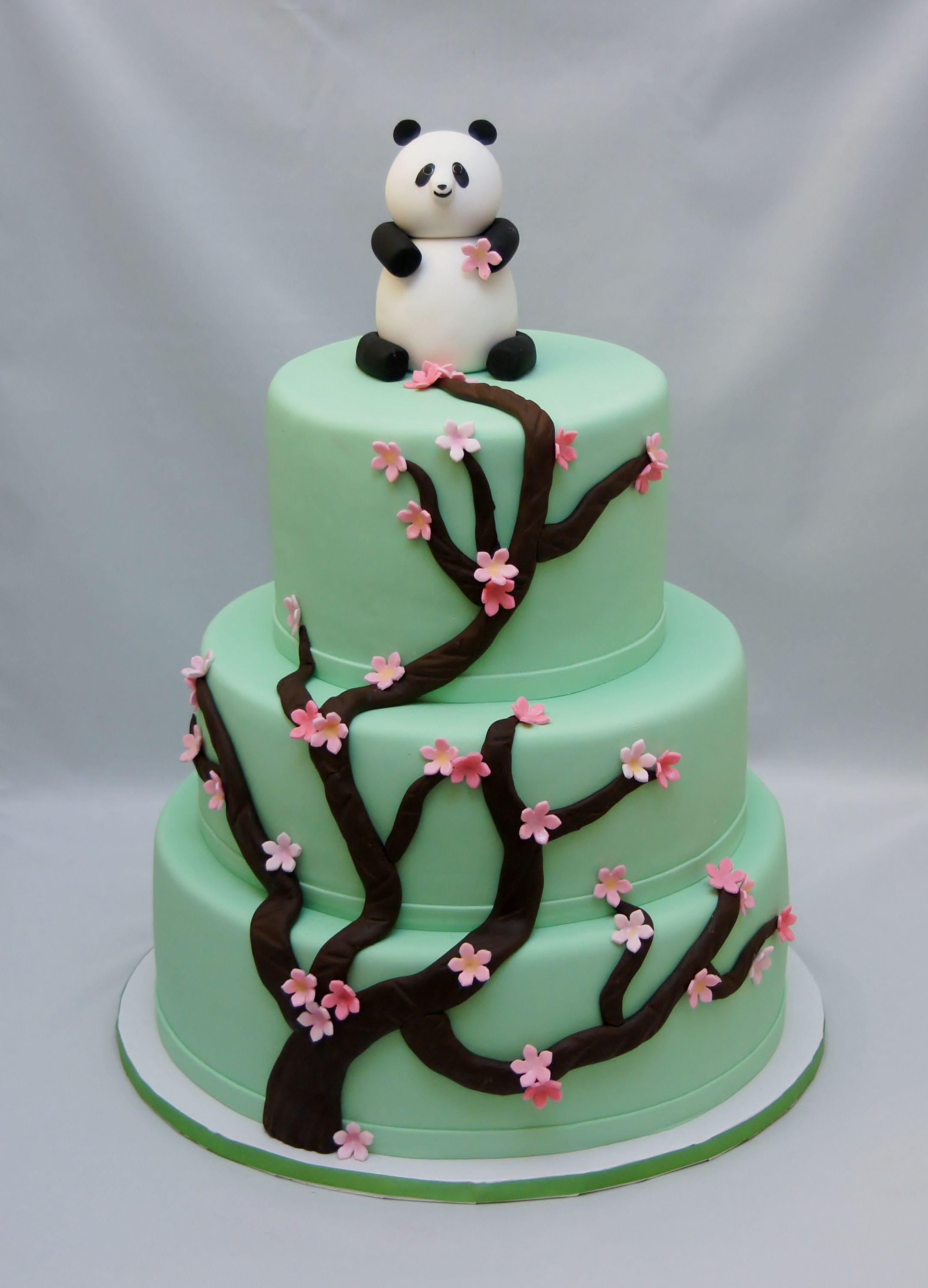 Panda With Cherry Blossom Baby Shower Cake Baby Shower