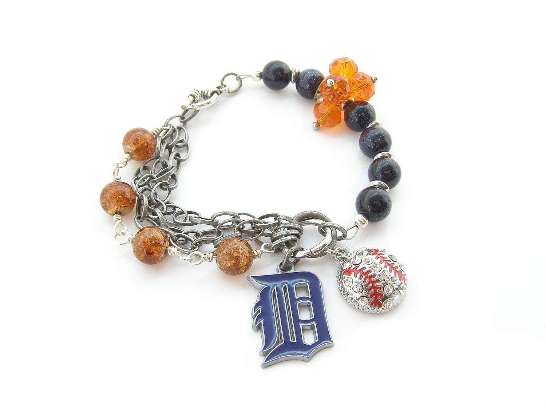 Detroit Tigers Mlb Baseball Bracelet Mixed Metal Multi Chain Women S Jewelry
