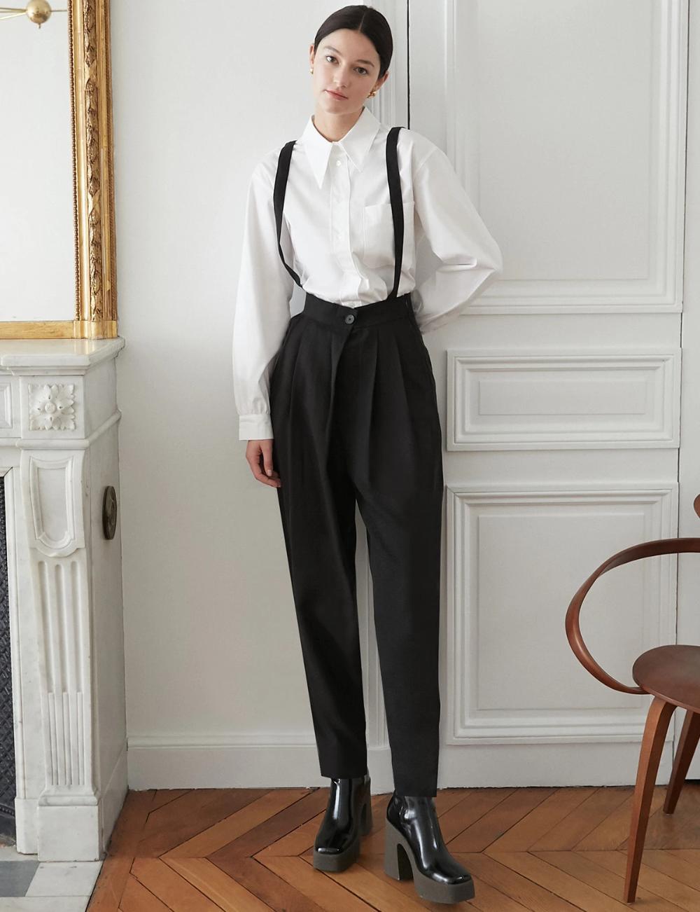 Tencel Black Suspender Pants