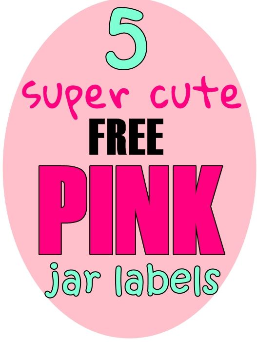 5 pink jar labels with free download - click image for more info