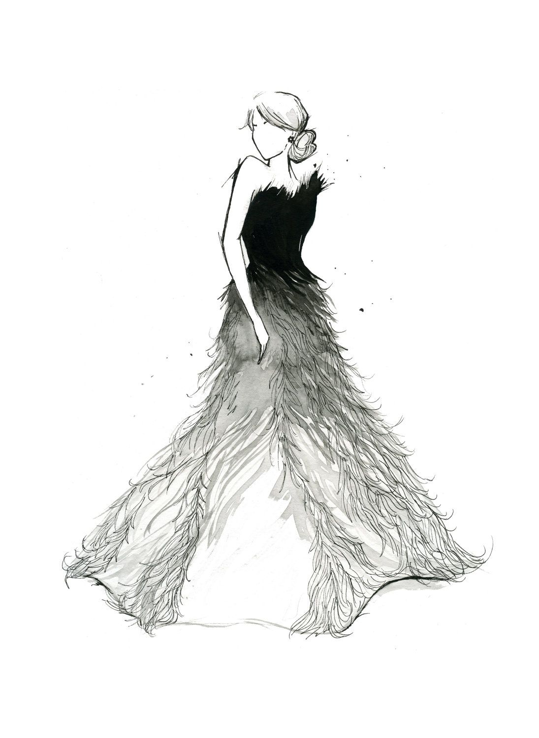 Watercolor Fashion Illustration Fade To White Print Avec Images