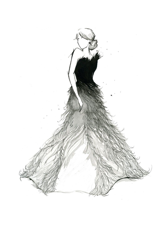 watercolor fashion illustration fade to white print via