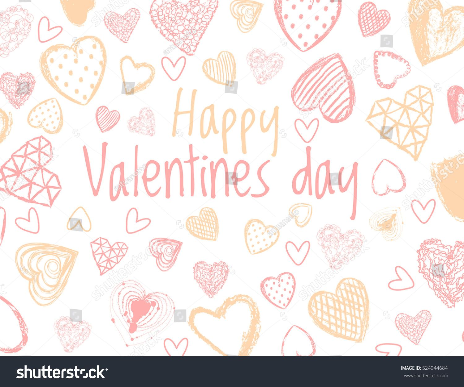 Vector Love Background With Doodle Hearts. Happy Valentines Day Quote  Background, Love, Romantic