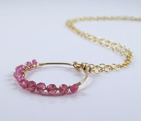 Natural Pink Sapphire Necklace  N405 by TheSilverBear on Etsy, $54.00