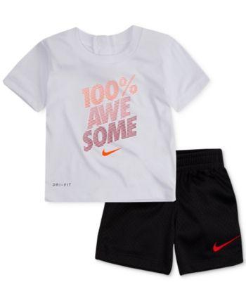 240a1aec4fc8 Nike 2-Pc. Awesome-Print T-Shirt & Shorts Set, Baby Boys - Black 12 months