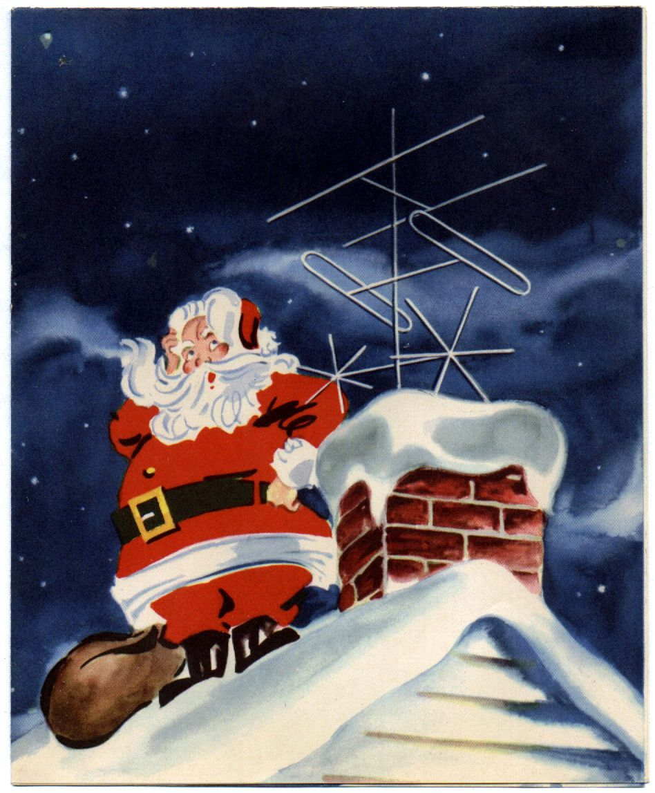 Weihnachtsbilder Weihnachtsmann.Up On The Roof Santa With Antenia In Chimney I Believe In Santa