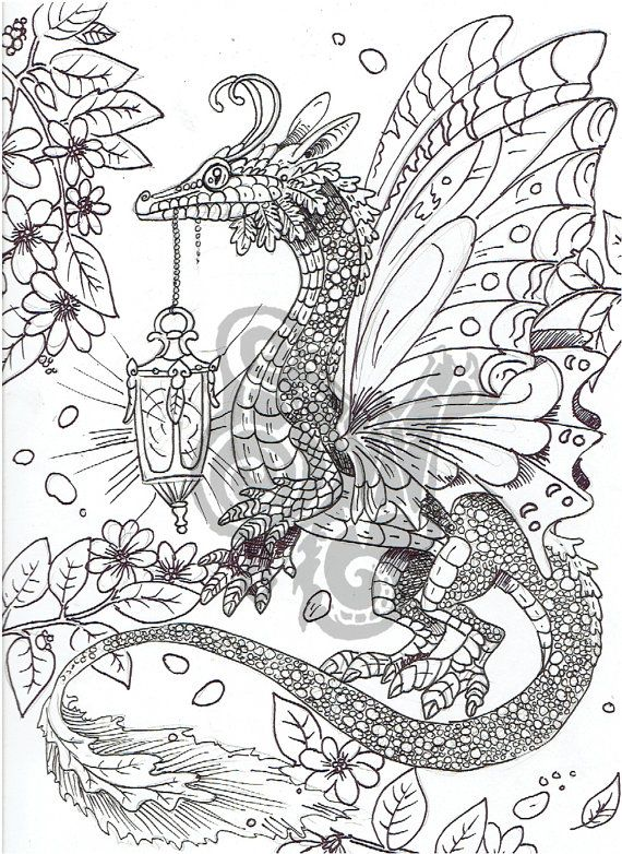 Digital Coloring Page Dragon in the Garden by ShadoWind on Etsy | my ...