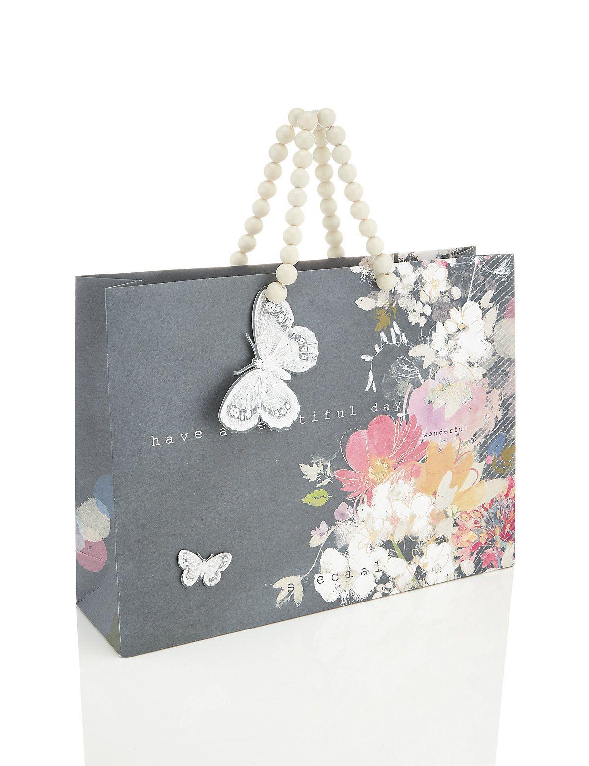 Large Grey Floral Beautiful Day Gift Bag Ambalaj