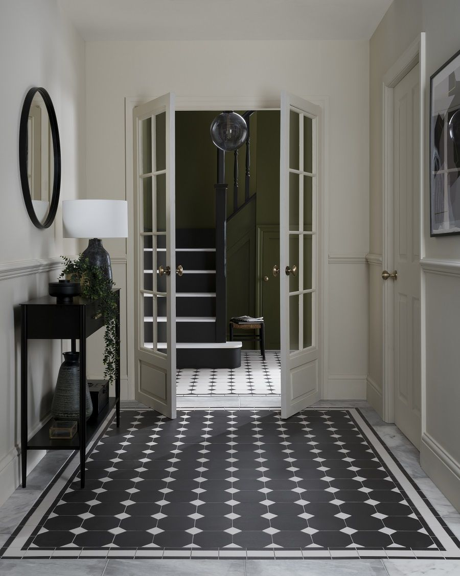 A Classically Styled Monochrome Hallway Victorian