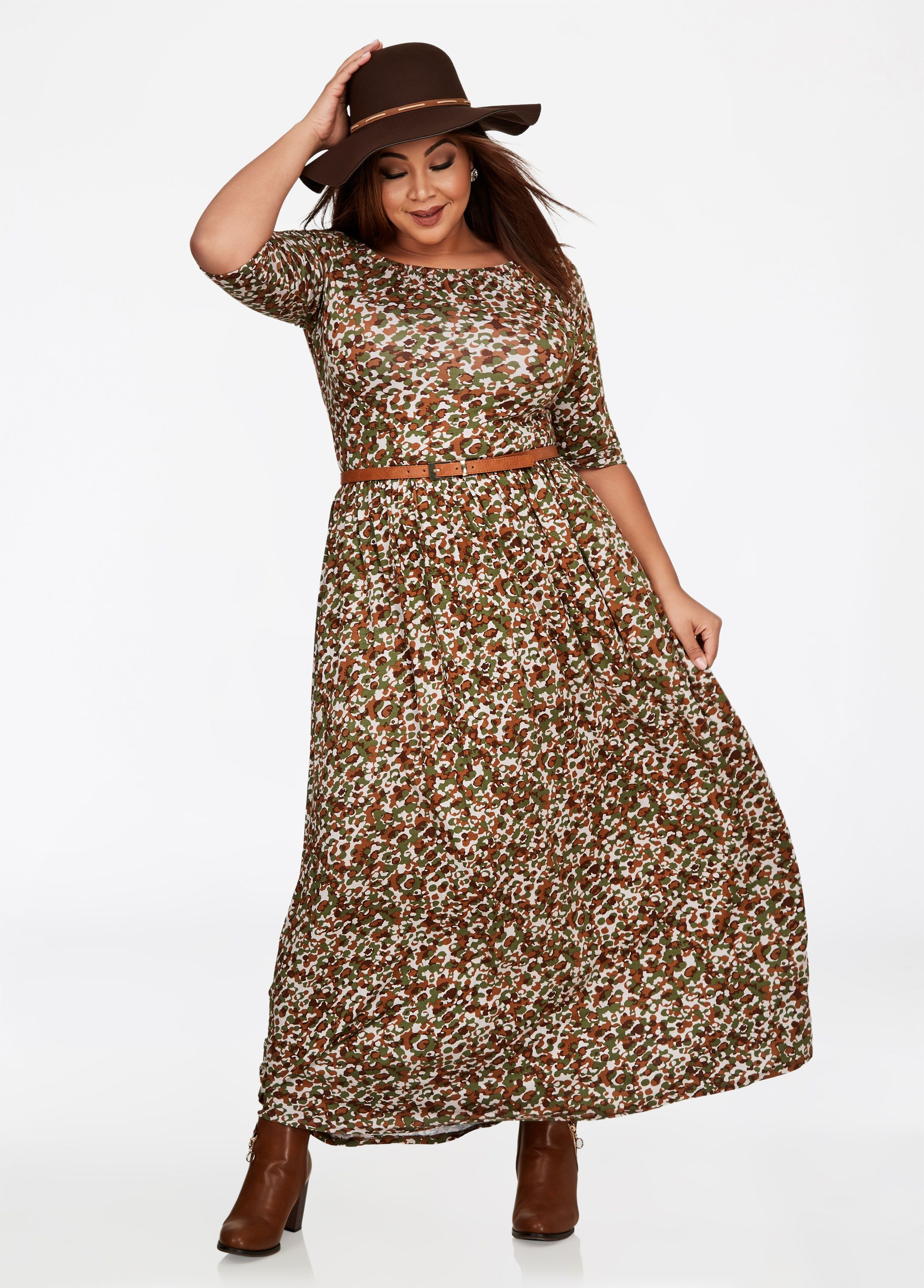 Fashion Bug Camo Print Ballerina Maxi Dress | Plus Size ...