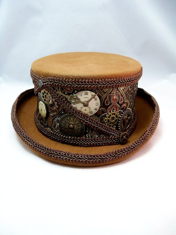 615d92aa982a5 Steampunk coachman hat with jaquard covering