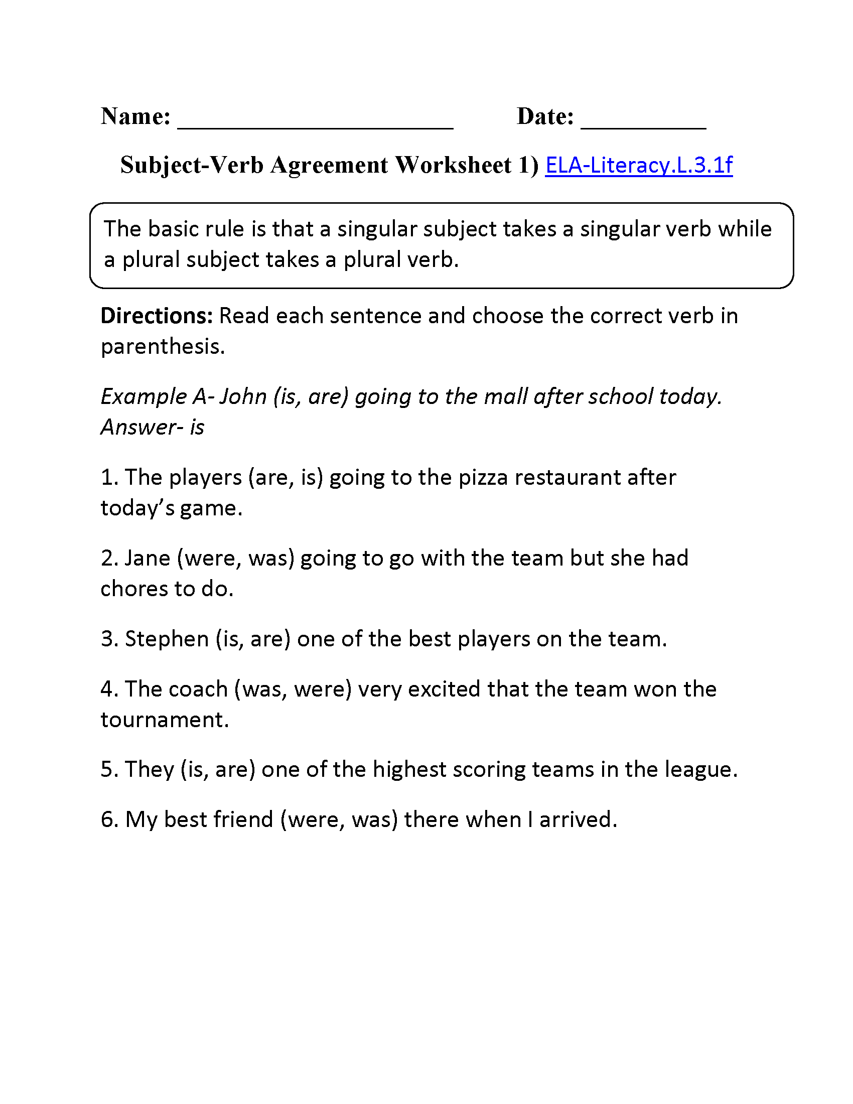 worksheet Subject Verb Agreement Worksheet 4th Grade 17 best images about l 3 1 f subject verb pronoun antecedent agreement on pinterest singular and plural nouns assessment language