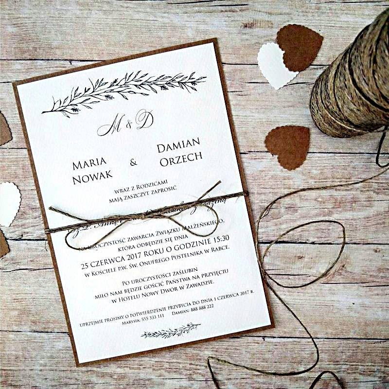 Zaproszenia Slubne Rustykalne Z Dratwa Koperta Eko Place Card Holders Place Cards Wedding