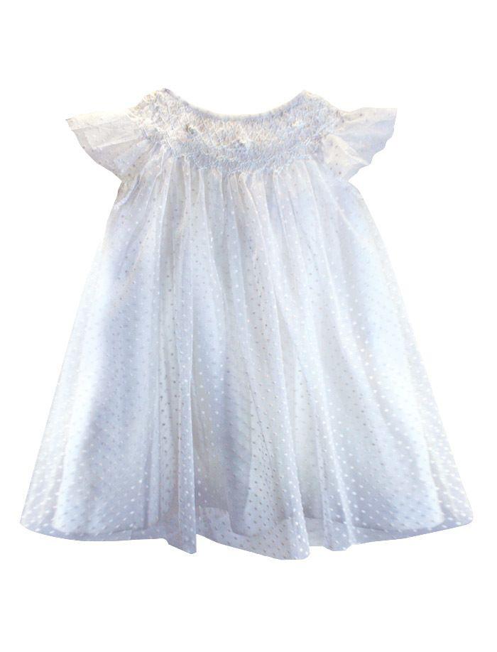7fb70e346 Angelic Hand Smocked Swiss Dot Soft Tulle Baby Bishop & Optional Smocked  Bonnet - Isabel Garretón