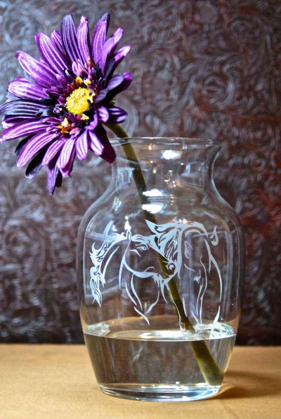 Horse Vase Glass Etched Vase Horse And Foal Etched Glass Gifts