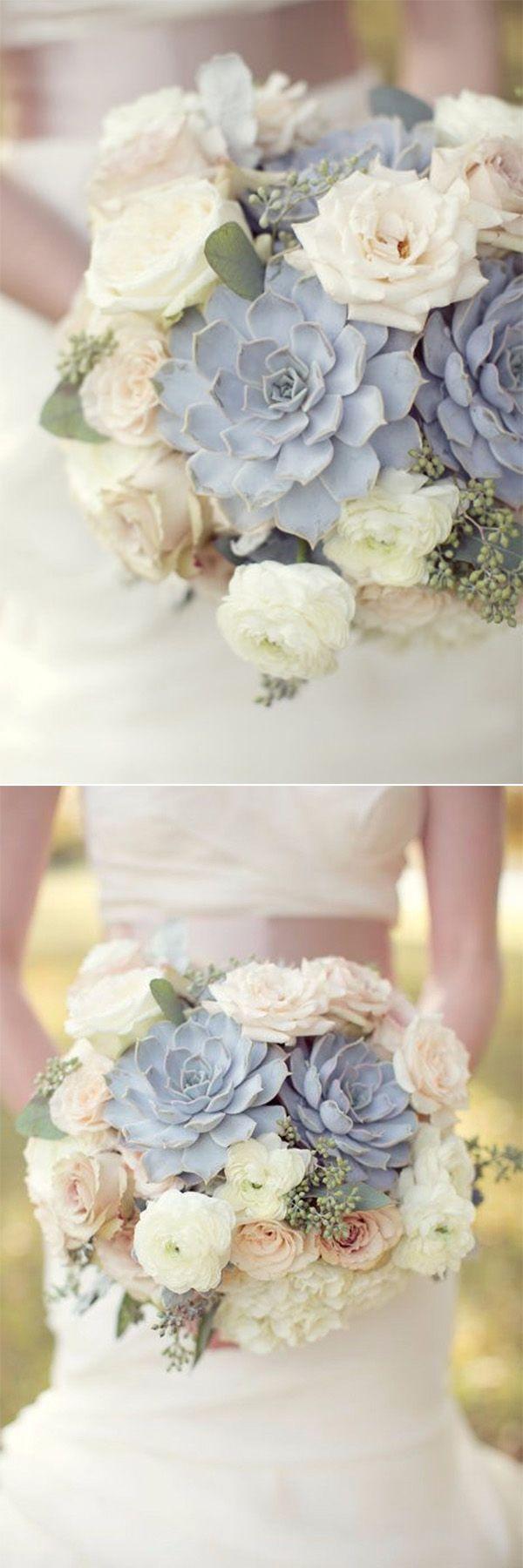25 Creative and Unique Succulent Wedding Bouquets Ideas | Neutral ...