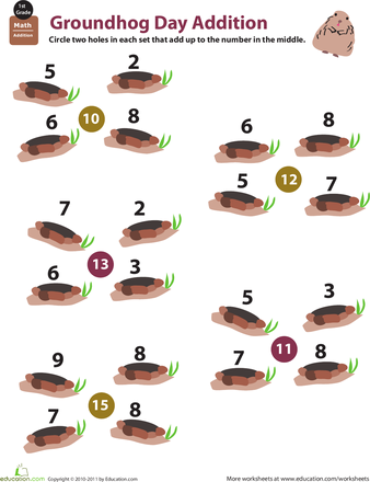 Holiday math groundhog day addition education pinterest worksheets holiday math groundhog day addition ibookread Download