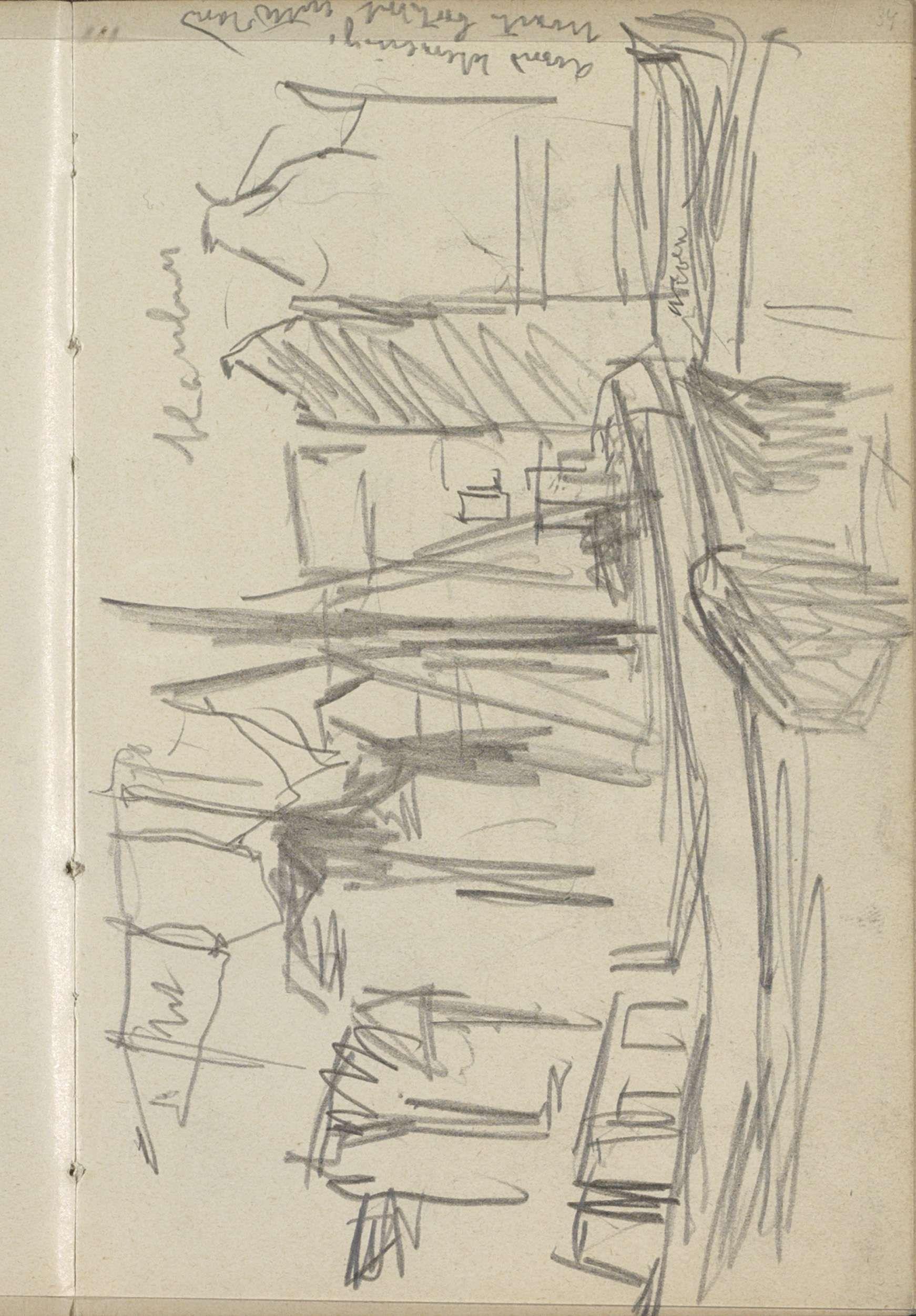 George Hendrik Breitner | Gezicht op het Damrak te Amsterdam met boten, George Hendrik Breitner, c. 1902 | Pagina 34 uit een schetsboek met 46 bladen vervaardigd in de omgeving van Amsterdam, Rotterdam en Haarlem.