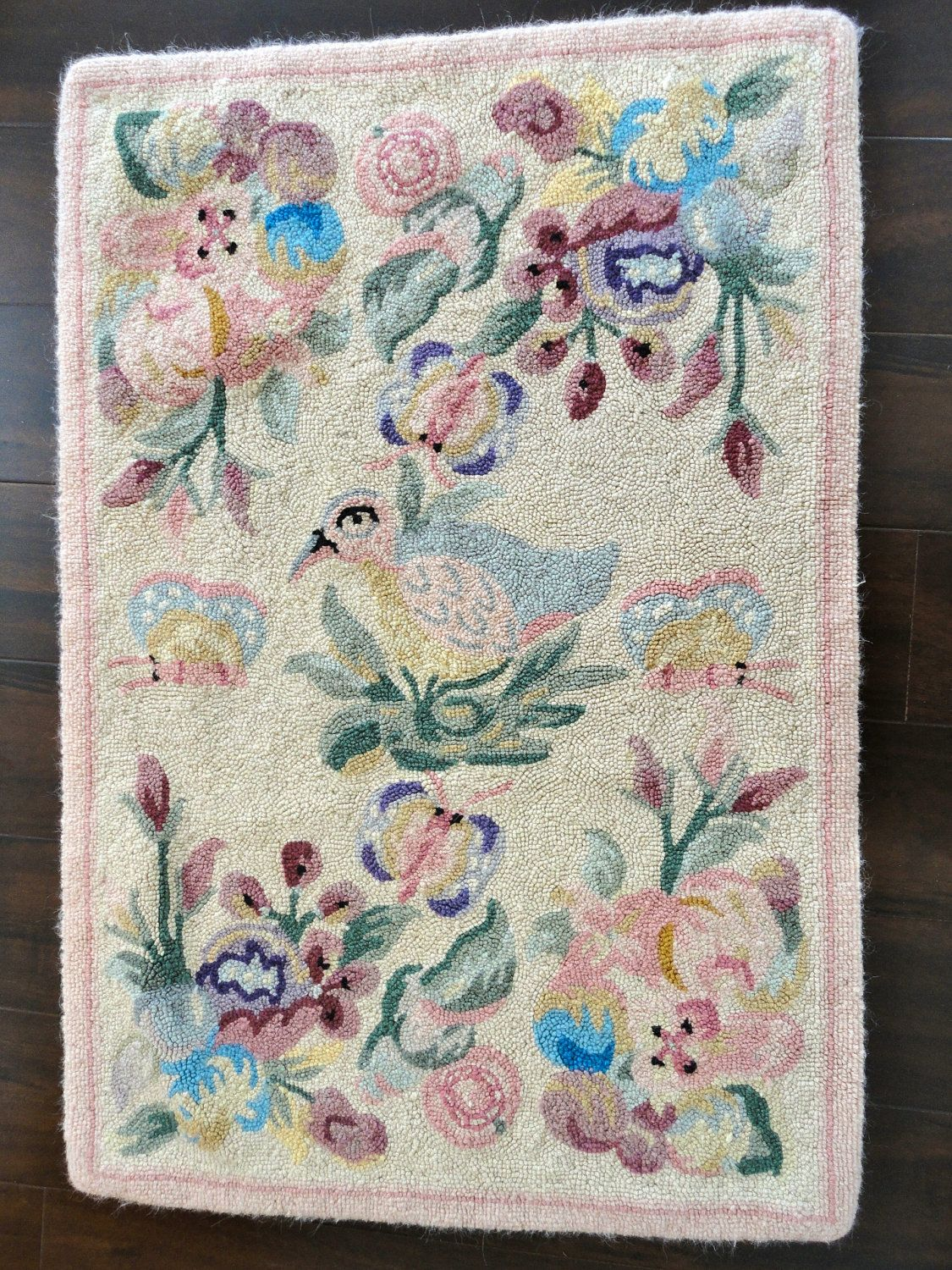 Hooked Rugs   Vintage Hooked Rug In Wool with Pastels, Flowers, Butterflies and a ...