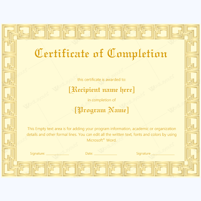 Best design completion template completion best design completion template completion completionwordtemplate completiontemplate completioncertificate yelopaper Images