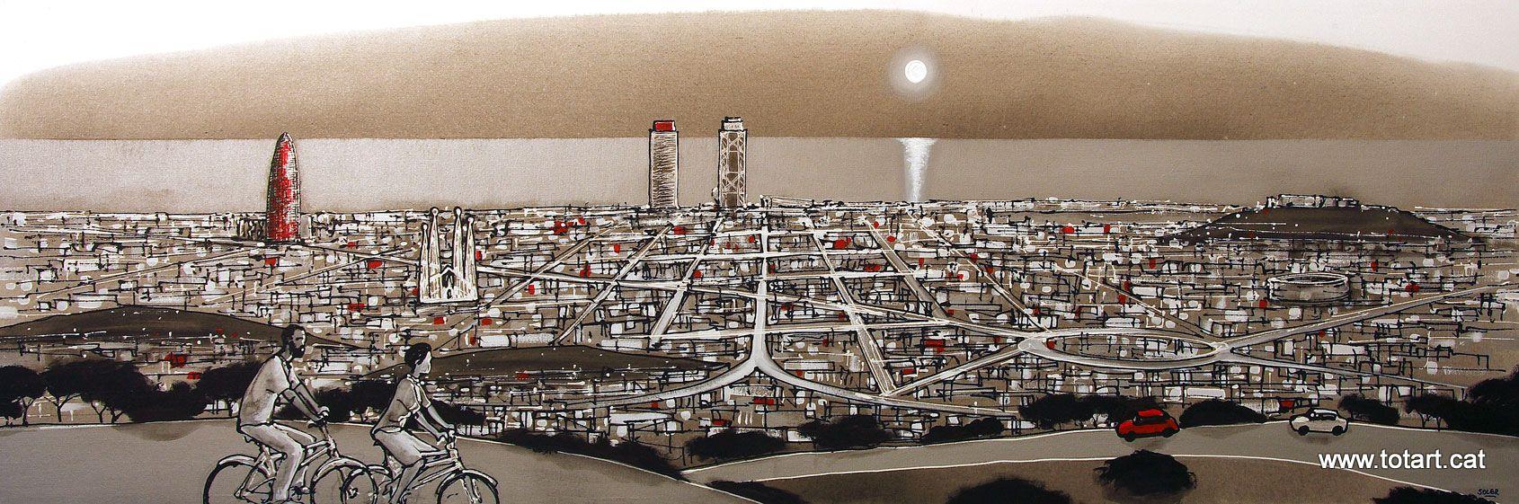 Pintura acrilica, cuadro Vista panoramica de Barcelona des de la ...