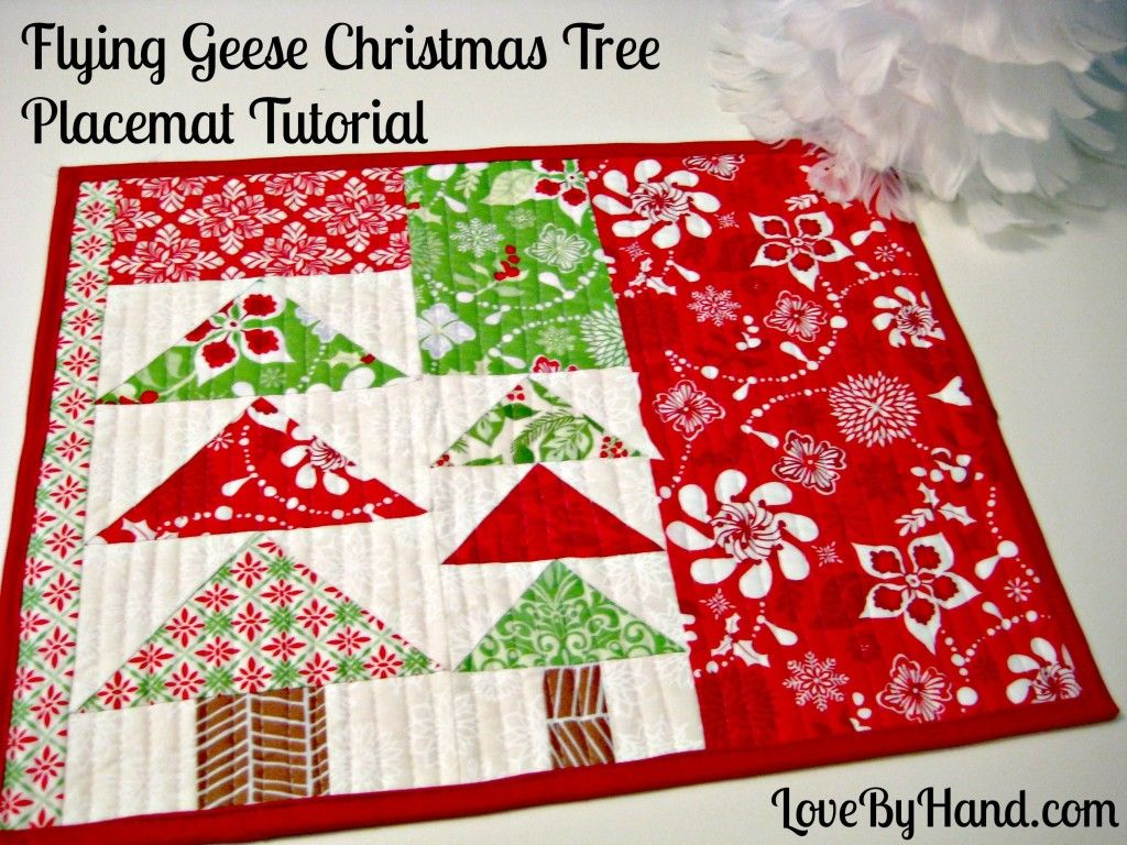 Free Sewing Tutorial Flying Geese Christmas Placemat Tutorial Christmas Placemats Placemats Patterns Christmas Sewing Projects