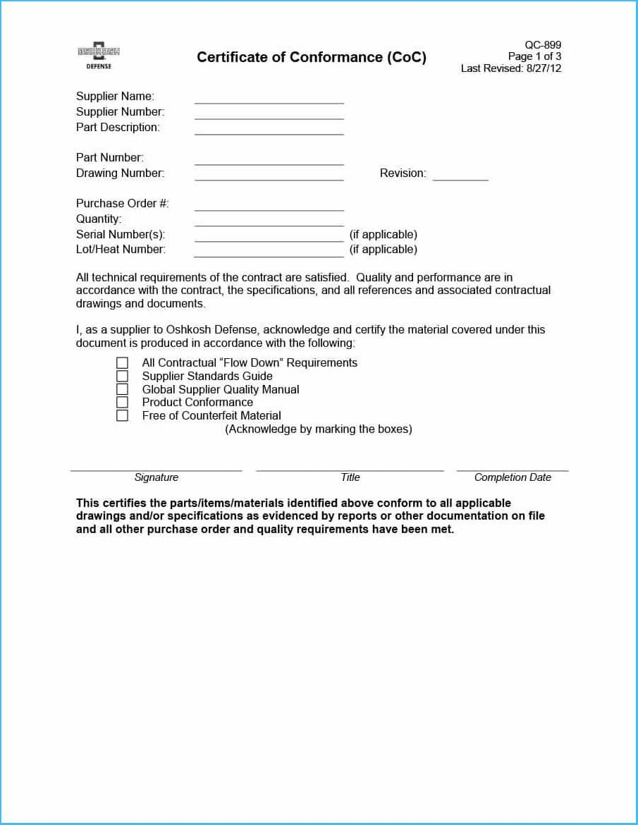 Certificate Of Conformance Template 6776 With Regard To