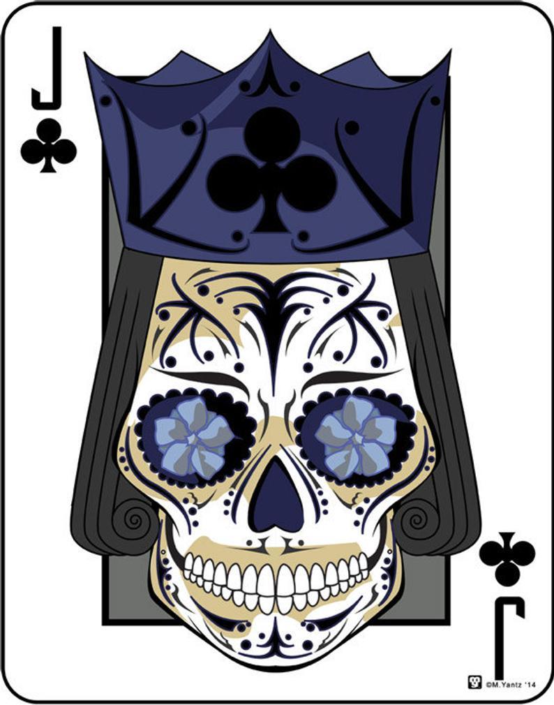 Jack of Clubs Sugar Skull Playing Card 11x14 print Etsy