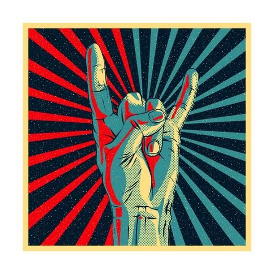 'Hand in Rock N Roll Sign, Vector Illustration.' Posters - PremiumVector | AllPosters.com